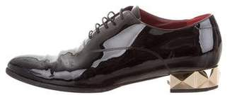 Valentino Patent Leather Semi Pointed-Toe Loafers