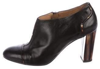 Dries Van Noten Leather Round-Toe Booties