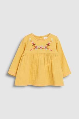 Next Girls Ochre Embroidered Blouse (3mths-7yrs)