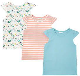 John Lewis Girls' Bird Print T-Shirt, Pack of 3, Multi