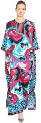 Emilio Pucci Printed Silk Twill Long Caftan