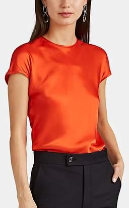 Helmut Lang Women's Satin Cap-Sleeve Top - Orange