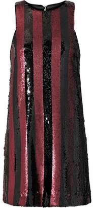 Milly Striped Sequined Satin Mini Dress