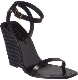 Saint Laurent Leather Espadrille Wedge Sandal