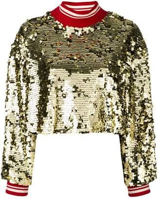 MSGM cropped sequin jumper