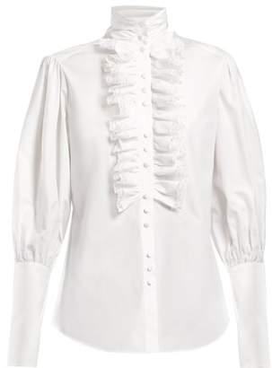 Dolce & Gabbana - Ruffle Neck Cotton Poplin Shirt - Womens - White