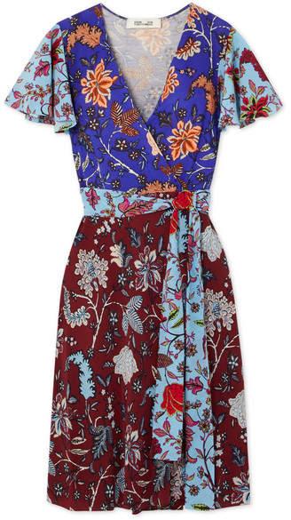 Diane von Furstenberg - Flutter Floral-print Silk-jersey Wrap Dress - Blue