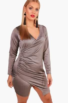 boohoo Plus Plunge Wrap Split Front Dress