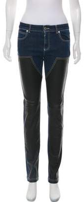 Givenchy Mid-Rise Leather Skinny Jeans