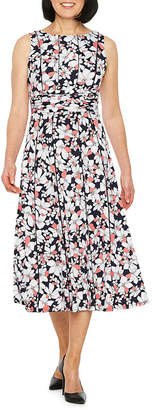 Perceptions Sleeveless Floral Fit & Flare Mid Length Dress