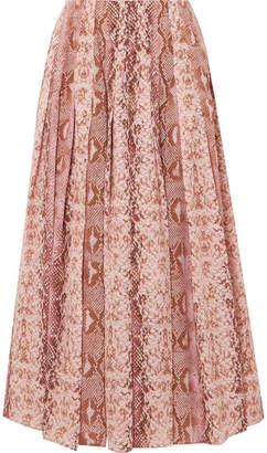 Emilia Wickstead Richie Pleated Snake-print Silk Crepe De Chine Midi Skirt