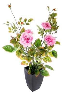 Camilla And Marc Homescapes Pink Large Rose Bush Artificial Flowers In Modern Black Pot, 80 Cm