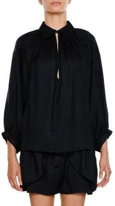 Stella McCartney Collared Long-Sleeve Stripe Silk Gathered Tunic Blouse