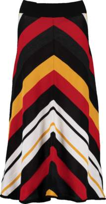 MSGM Diagonal Striped Midi Skirt