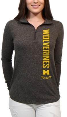 NCAA Michigan Wolverines Cascade Text Women's/Juniors Team Long Sleeve Half Zip Shirt