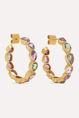 Pippa Small 18-karat Gold Spinel Hoop Earrings