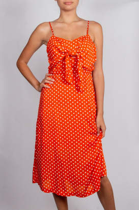 Blu Pepper Orange-Front-Knot Polka-Dot Dress