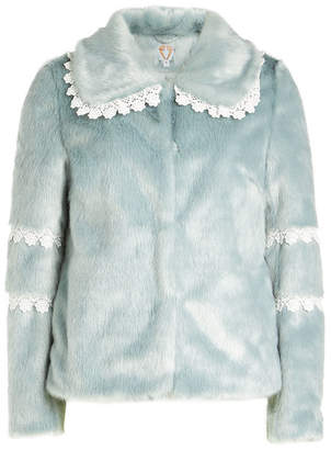 Shrimps Faux Fur Coat With Lace Trim