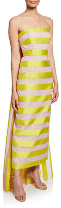 Lela Rose Strapless Striped Back-Bow Column Dress