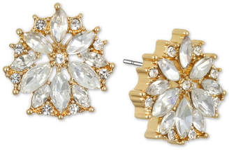 Badgley Mischka Gold-Tone Crystal Flower Stud Earrings