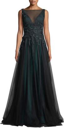 Rickie Freeman For Teri Jon Sleeveless Tulle Gown w/ 3D Flower Embroidery