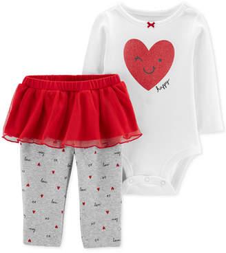 Carter's Carter Baby Girls 2-Pc. Heart-Print Bodysuit & Tutu Leggings Set