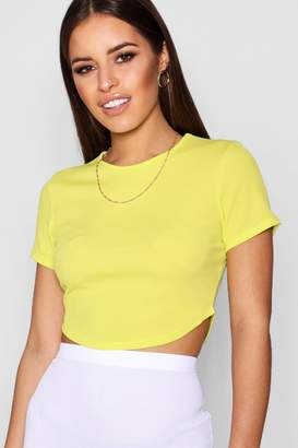 boohoo Petite Rib Curved Hem Short Sleeve Crop Top