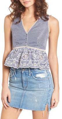 J.o.a. Embroidered Gingham Crop Top