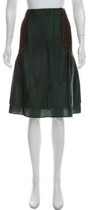 Issey Miyake Pleated-Trimmed Knee-Length Skirt