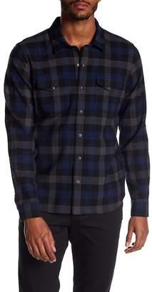 Vince Check Plaid Wool Blend Trim Fit Shirt