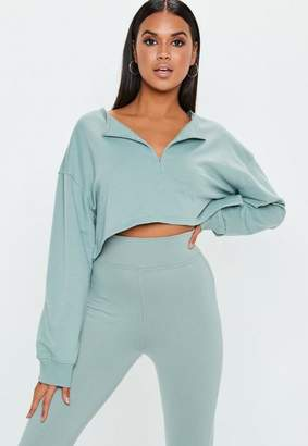 Missguided Green Zip Front Crop Sweatshirt