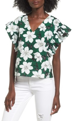 Women's J.o.a. Floral Flutter Sleeve Top $59 thestylecure.com
