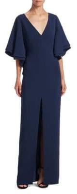 Halston Flounce Bell-Sleeve Gown