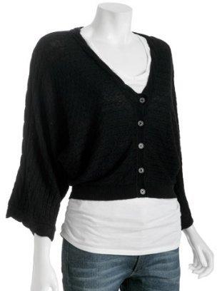 YAYA AFLALO black cable knit cashmere cropped cardigan