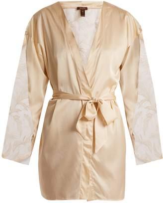 COCO DE MER Wonderland lace-insert silk-blend robe