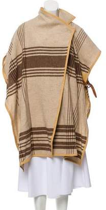 By Malene Birger Leather-Accented Plaid Cape