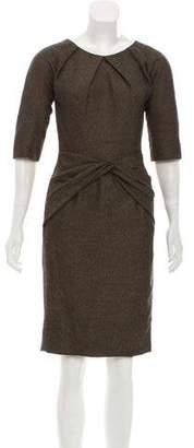 Lela Rose Gathered Short Sleeve Dress