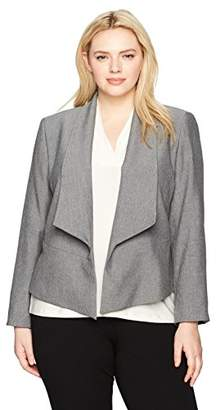 Nine West Women's Plus Size Flyaway Jacket with Lapels