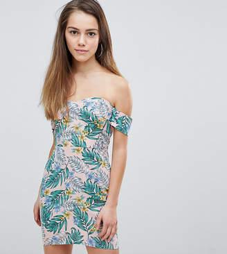Missguided Petite Bardot Palm Print Summer Dress