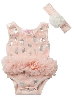 Popatu Tutu Dress & Head Band Romper Set (Baby Girls)