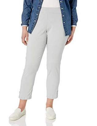 SLIM-SATION Women's Plus Size Pull on Solid Ankle Pant with Button Hem Vents