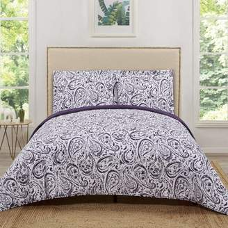 Truly Soft Watercolor Paisley Eggplant Twin Extra Long Quilt Set