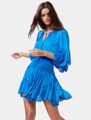 Halston Flowy Sleeve Smocked Waist Dress