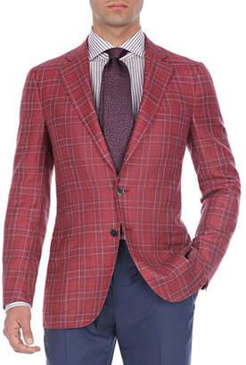 Isaia Plaid Wool-Cotton Two-Button Blazer