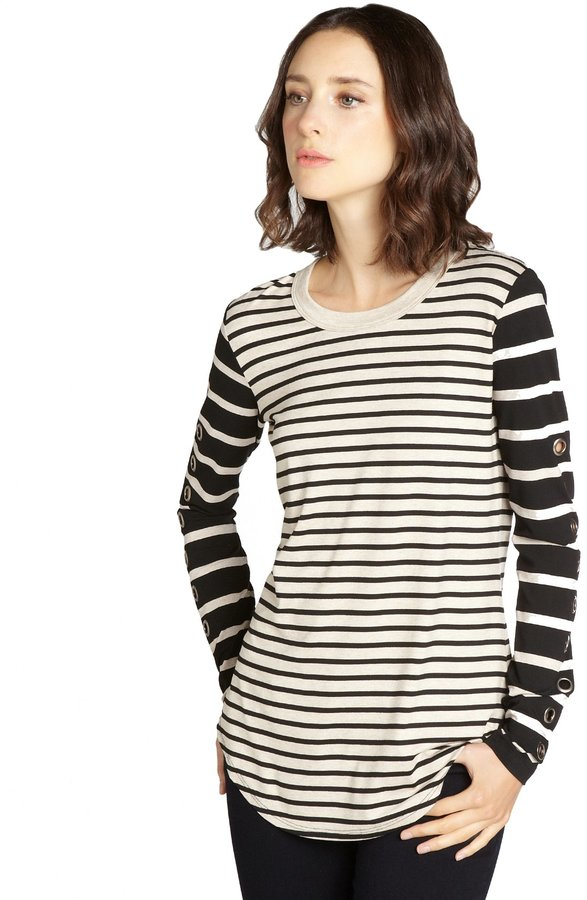 Wyatt Oatmeal And Black Striped Stretch Jersey Grommet Sleeve T-Shirt