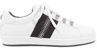 Balmain Esther Zip-embellished Leather Sneakers - White