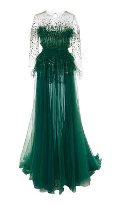 Pamella Roland Ostrich Feather Sequin Embellished Tulle Gown