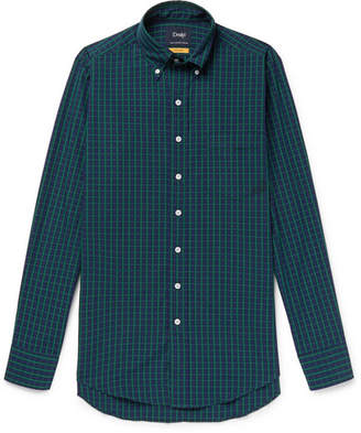 Drakes Drake's Slim-Fit Button-Down Collar Black Watch Checked Cotton Shirt