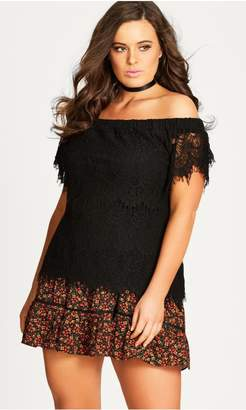 City Chic Citychic Lacey Off Shoulder Top