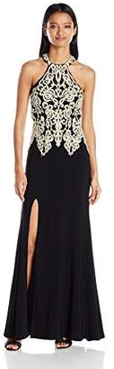 My Michelle Sequin Hearts Junior's Long Prom Dress with Gold Embroidery
